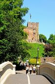 Footbridge and castle, Tamworth.
