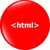 Html 5 Sign Icon. Programming Language Symbol. Circles Buttons