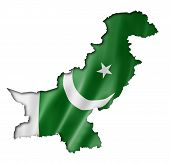 picture of pakistani flag  - Pakistan flag map three dimensional render isolated on white - JPG