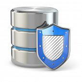 Data security. Database and shield on white isolated background. 3d