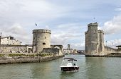 Walled Entry Port Of La Rochelle In France