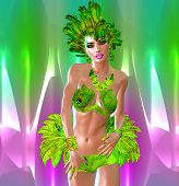 image of headdress  - A carnival style dancer woman in green feathers and headdress dances in front of a colorful abstract background that matches her outfit - JPG