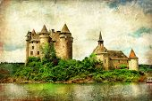 Chateau de Val - castle on lake - artistic picture in painting s