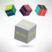 Colorful box icons set with boxed labels. Vector