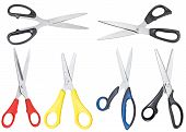 Set Of Different Open Scissors Isolated On White