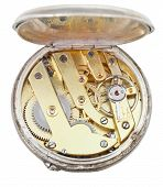 Brass Movement Of Retro Silver Pocket Watch