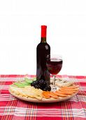 Red wine and cheese plate.