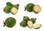 Set Whole And Sliced Feijoa (isolated)