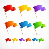 Vector Collection of different color flags