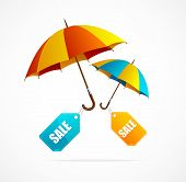 Sale labels with umbrellas, spring
