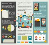 Social network infographic. Flat elements. Vector.