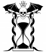 stock photo of serpent  - vector illustration with skull serpents and sandglass in black and white colors - JPG
