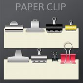 Set of different paper clips for your design, vector illustration