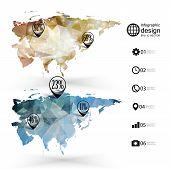 Eurasia map template, triangle design, infographics vector illustration