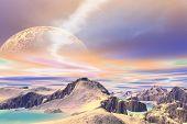3D Rendered Fantasy Alien Planet. Rocks And Sky