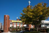 JEONJU, SOUTH KOREA - 03 NOVEMBER 2014: A modern church serves the Christian population in Jeonju. Christianity is a fast growing religion in this traditionally Buddhist country.
