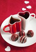 stock photo of truffle  - Hand Made Chocolate Truffles For Valentines Day - JPG