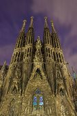 Barcelona, Spain - November 22: La Sagrada Familia At Night View From Bottom