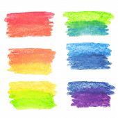 Vector set of rainbow watercolor banners