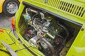 Chromed Engine Of A Vintage Fiat 500