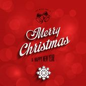 Merry Christmas & Happy New Year Typography Lettering Vintage Design Greeting Card on Red Holiday background.  Vector illustration Happy Holidays Template with Bell & Snowflake