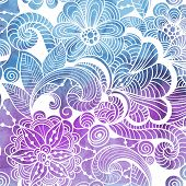 Vector  Winter Lacy Pattern On Watercolor Background