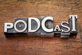 podcast word in vintage metal type printing blocks over grunge wood