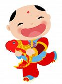 Chinese new year greeting card - boy