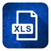 xls file flat icon, christmas button