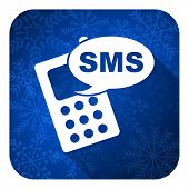 sms flat icon, christmas button, phone sign