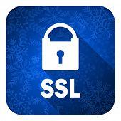 ssl flat icon, christmas button