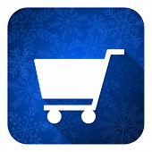 cart flat icon, christmas button, shop sign