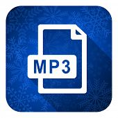 mp3 file flat icon, christmas button