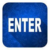 enter flat icon, christmas button