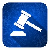 auction flat icon, christmas button, court sign, verdict symbol