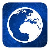earth flat icon, christmas button, world sign