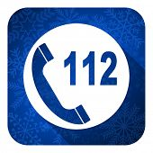emergency call flat icon, christmas button, 112 call sign