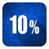 10 percent flat icon, christmas button, sale sign