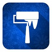 brush flat icon, christmas button, paint sign