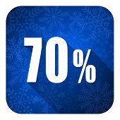 70 percent flat icon, christmas button, sale sign