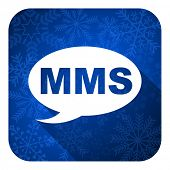 mms flat icon, christmas button, message sign