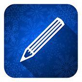 pencil flat icon, christmas button
