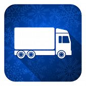 delivery flat icon, christmas button, truck sign