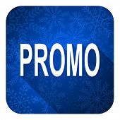 promo flat icon, christmas button