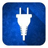plug flat icon, christmas button, electric plug sign
