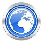 earth icon, blue button, world sign