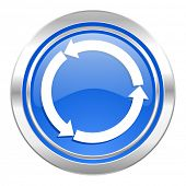 refresh icon, blue button, reload icon, blue button