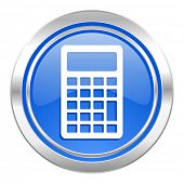 calculator icon, blue button