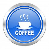 espresso icon, blue button, hot cup of caffee sign