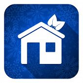 house flat icon, christmas button, ecological home symbol